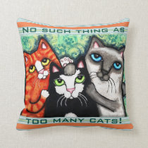 Funny Cat Lover's Cat Art Throw Pillow