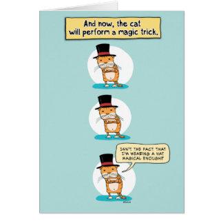 Funny Cat Magic Trick Birthday Card