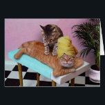 """Funny Cat Massage Card<br><div class=""""desc"""">Here a ginger cat is relaxing and having a back massage by another cat! Even funnier with the towel wrapped around the head!</div>"""