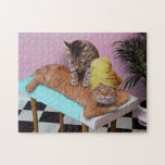 """Funny Cat Massage Jigsaw Puzzle<br><div class=""""desc"""">Here a ginger cat is relaxing and having a back massage by another cat! Even funnier with the towel wrapped around the head!</div>"""