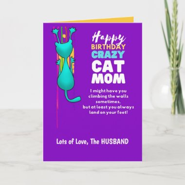 Funny CAT MOM Birthday Wife From Husband Card
