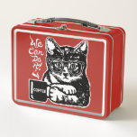 """Funny cat motivated by coffee metal lunch box<br><div class=""""desc"""">Funny cat motivated by coffee,  a unique design for coffee and cat lover.</div>"""
