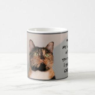 Funny Cat Mug, without coffee I'm catatonic!