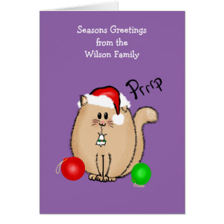 Funny cat n mouse Christmas card personalized