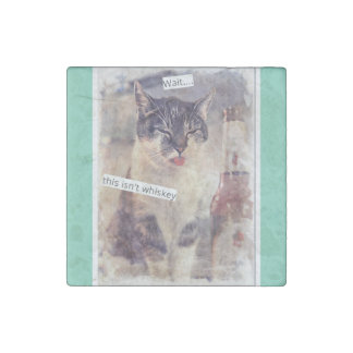 Funny Cat Needs Whiskey Stone Magnet