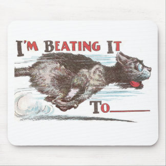 Funny Cat on the Run Mouse Pads