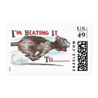 Funny Cat on the Run Postage Stamp