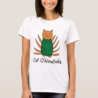 Funny Cat O'Ninetails Irish Pun Drawing T-Shirt