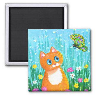 Funny Cat Orange Tabby Butterfly Summer Magnet