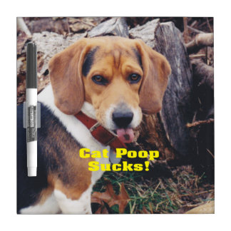 Funny Cat Poop Sucks Dog Sticking Tongue Out Dry-Erase Board
