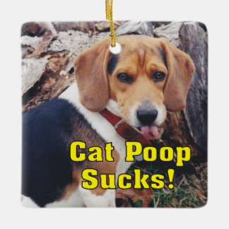 Funny Cat Poops Sucks Dog Sticking Tongue Out Ceramic Ornament