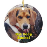 Funny Cat Poops Sucks Dog Sticking Tongue Out Double-Sided Ceramic Round Christmas Ornament