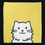 "Funny cat portrait bandana<br><div class=""desc"">Funny cat portrait in cartoon style with customizable color background.</div>"