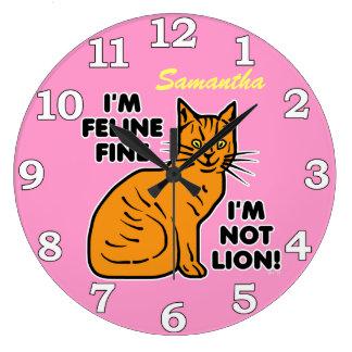 Funny Cat Pun Custom 2 Wall Clock