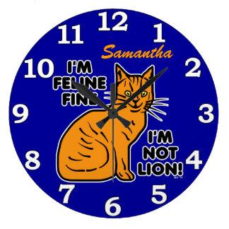 Funny Cat Pun Custom Clock
