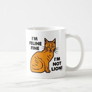 Funny Cat Pun Orange Feline Fine Kitty Coffee Mug