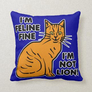 Funny Cat Pun Orange Feline Fine Kitty Pillows