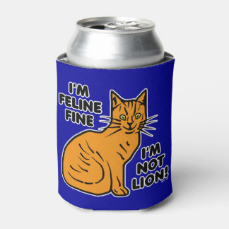 Funny Cat Pun Orange Kitty Feline Fine Can Cooler