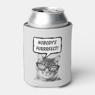 Funny cat pun quote beverage holder can coolers