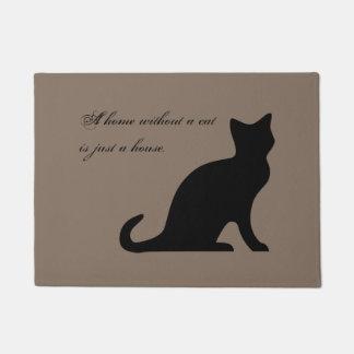 Funny cat quote khaki beige door mat for home