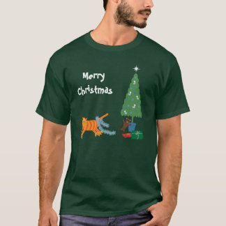 Funny Cat Running From Tinsel Christmas T-Shirt