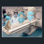 "Funny Cat Scan Image Postcard<br><div class=""desc"">Funny image with a ct scanner with a line of cat patients.  The ct scanner was labeled public domain on Wikipedia by photographer NithinRao.</div>"
