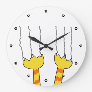Funny Cat Scratch Cartoon Whimsical Scratching Large Clock