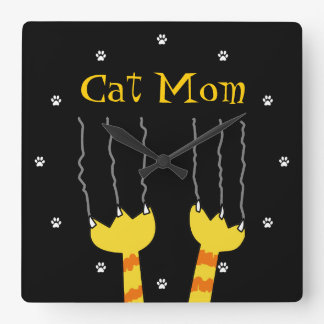 Funny Cat Scratch Cat Mom Playful Black Cat Lovers Square Wall Clock