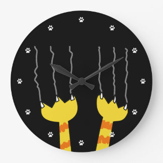 Funny Cat Scratch Whimsical Black Cat Lovers Large Clock