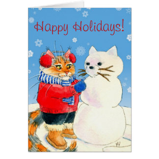 Funny cat snowman Christmas winter card