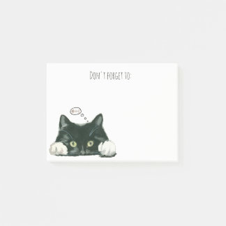 funny cat thinking of fish post it notes black cat