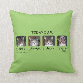 Funny Cat Throw Pillow Mood Meter