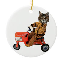 Funny Cat Tractor Ceramic Ornament