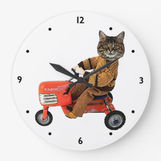 Funny Cat Tractor Large Clock