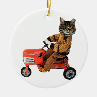 Funny Cat Tractor Double-Sided Ceramic Round Christmas Ornament