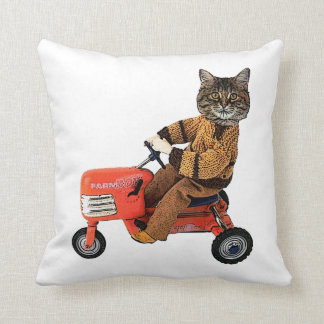 Funny Cat Tractor Throw Pillow