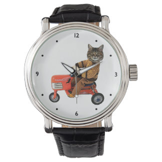 Funny Cat Tractor Wristwatch