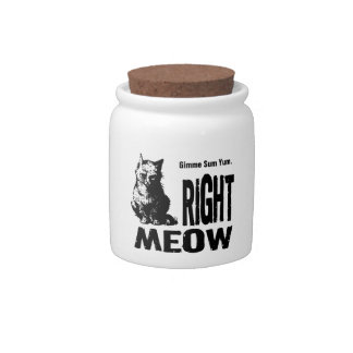 Funny Cat Treat Jar - Gimme Sum Yum Right MEOW Candy Jars