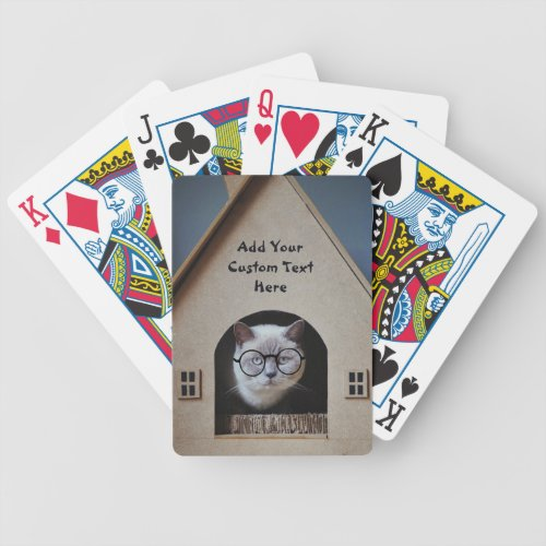 Funny Cat Wearing Glasses Customize with Your Text Bicycle Playing Cards