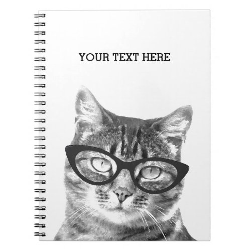 Funny cat wearing glasses photo notebook design