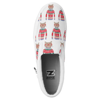 Funny Cat Wearing Glasses, Ugly Christmas Sweater Slip-On Sneakers