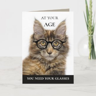 Funny Cat Wine Champagne Birthday Greeting Card