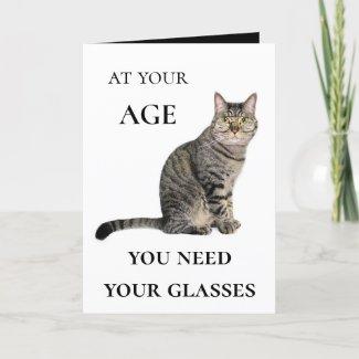 Funny Cat Wine Glasses Birthday Greeting Card