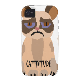 Funny Cat with Cattitude Art iPhone 4 Cover