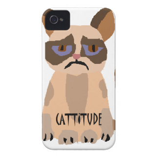 Funny Cat with Cattitude Art iPhone 4 Cases