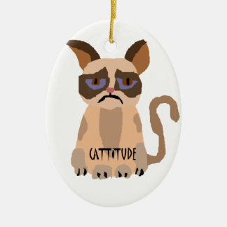 Funny Cat with Cattitude Art Ceramic Ornament