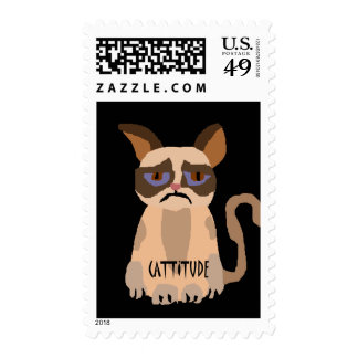 Funny Cat with Cattitude Art Postage