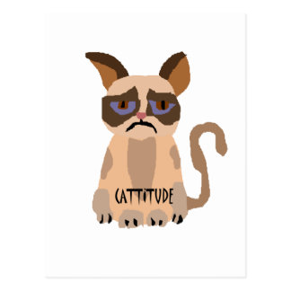 Funny Cat with Cattitude Art Postcard