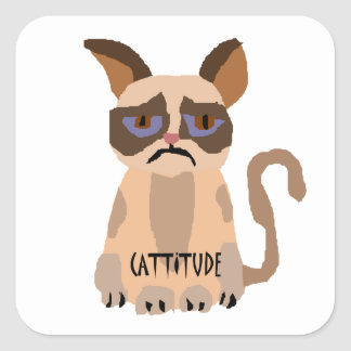Funny Cat with Cattitude Art Square Stickers