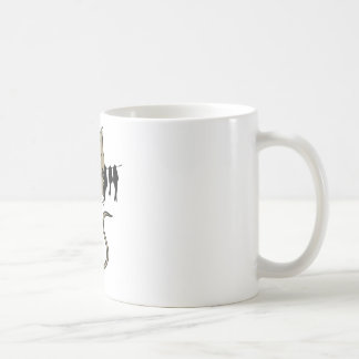 Funny Cat with Clothes Line Full of Fish Coffee Mug